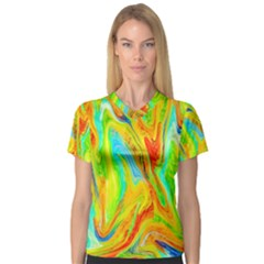 Happy Multicolor Painting Women s V Neck Sport Mesh Tee