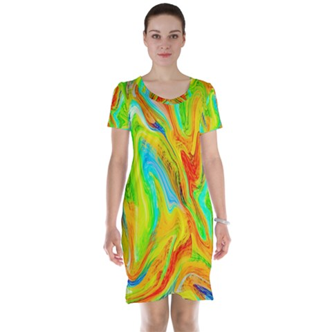Happy Multicolor Painting Short Sleeve Nightdress