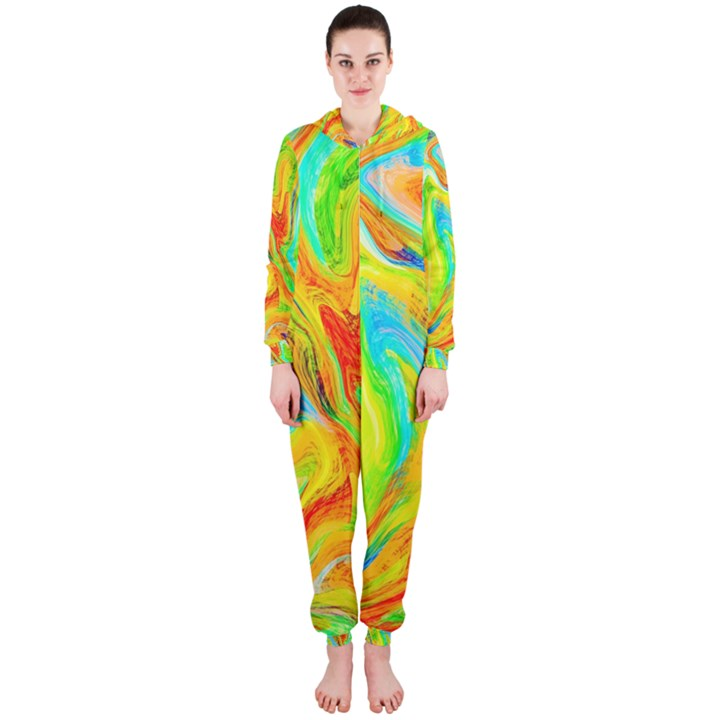 Happy Multicolor Painting Hooded Jumpsuit (Ladies)