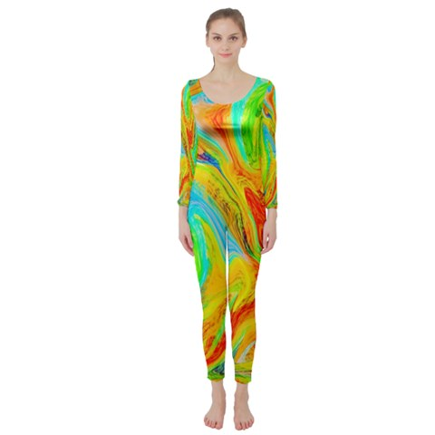 Happy Multicolor Painting Long Sleeve Catsuit
