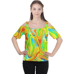 Happy Multicolor Painting Women s Cutout Shoulder Tee