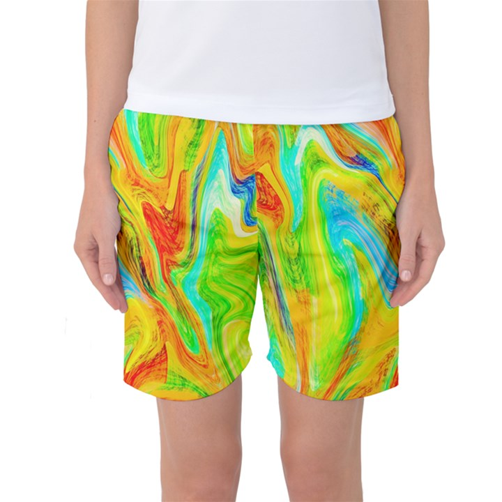 Happy Multicolor Painting Women s Basketball Shorts