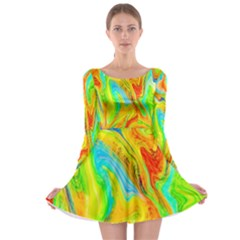 Happy Multicolor Painting Long Sleeve Skater Dress