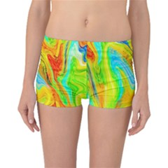 Happy Multicolor Painting Boyleg Bikini Bottoms