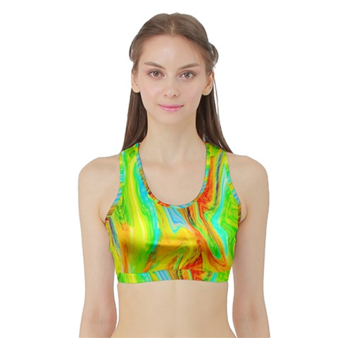 Happy Multicolor Painting Sports Bra with Border