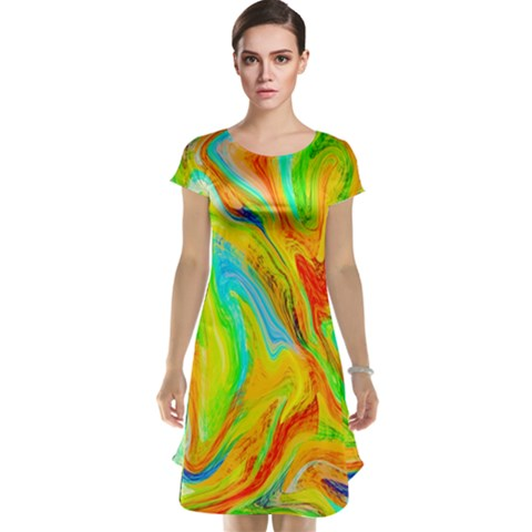 Happy Multicolor Painting Cap Sleeve Nightdress