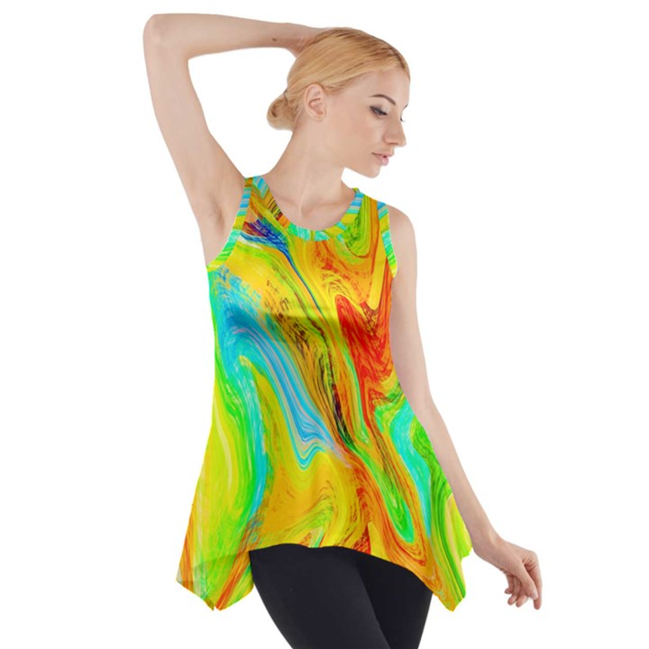 Happy Multicolor Painting Side Drop Tank Tunic