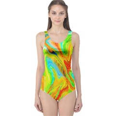 Happy Multicolor Painting One Piece Swimsuit