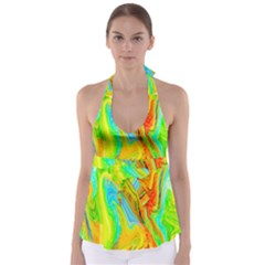 Happy Multicolor Painting Babydoll Tankini Top