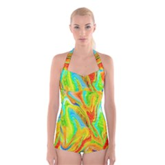 Happy Multicolor Painting Boyleg Halter Swimsuit