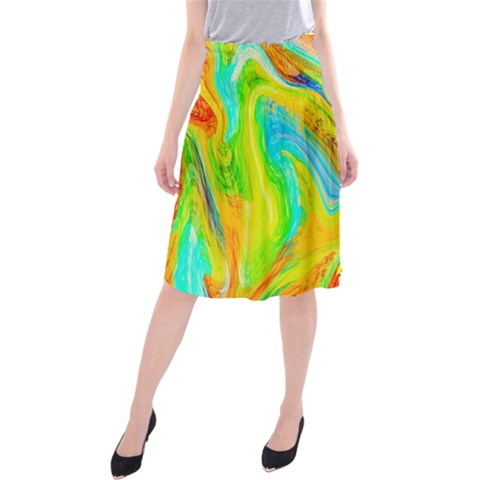 Happy Multicolor Painting Midi Beach Skirt