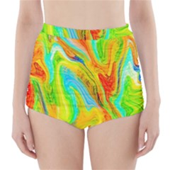 Happy Multicolor Painting High Waisted Bikini Bottoms