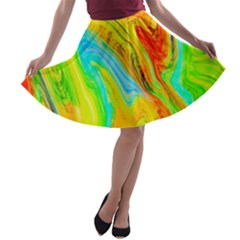 Happy Multicolor Painting A Line Skater Skirt