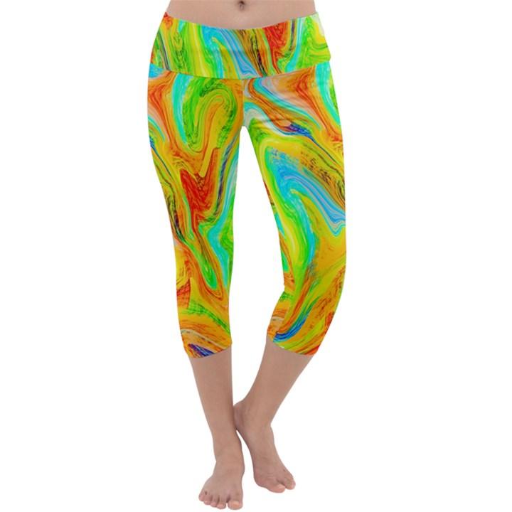 Happy Multicolor Painting Capri Yoga Leggings