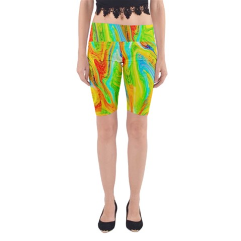 Happy Multicolor Painting Yoga Cropped Leggings