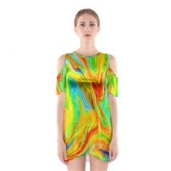 Happy Multicolor Painting Cutout Shoulder Dress