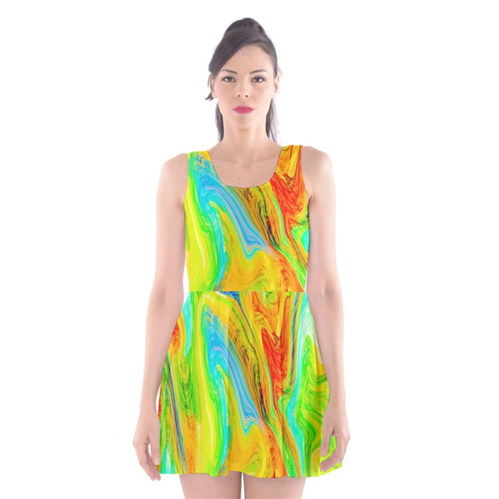 Happy Multicolor Painting Scoop Neck Skater Dress