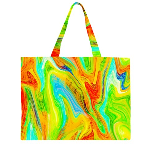 Happy Multicolor Painting Large Tote Bag