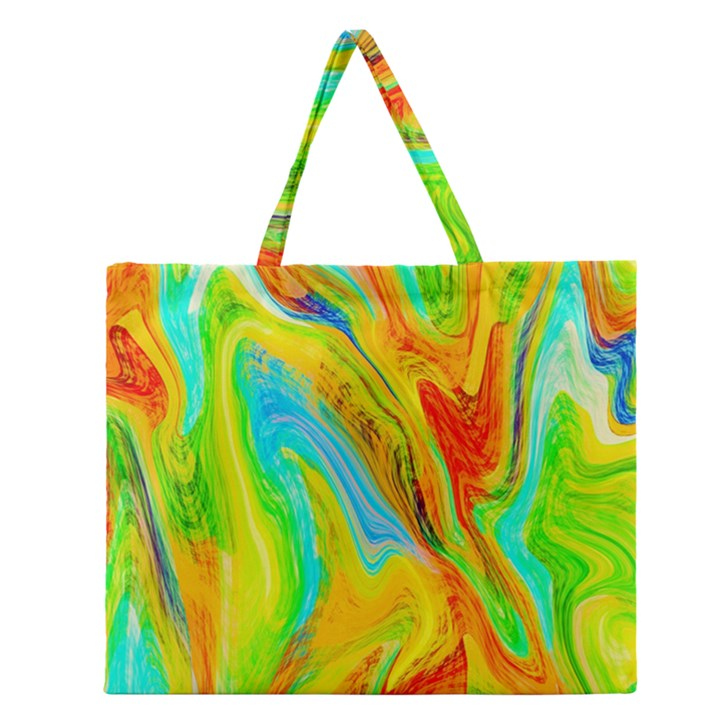 Happy Multicolor Painting Zipper Large Tote Bag