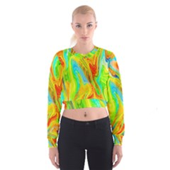Happy Multicolor Painting Women s Cropped Sweatshirt