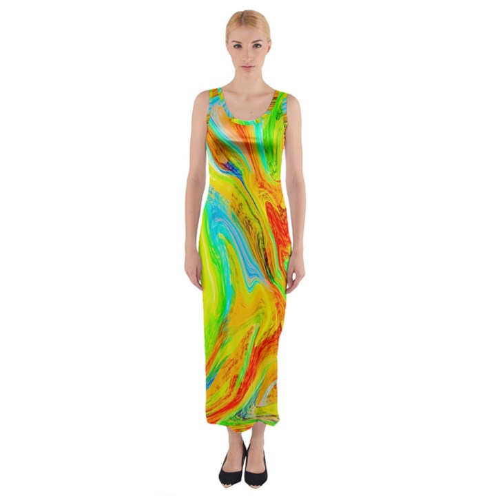 Happy Multicolor Painting Fitted Maxi Dress