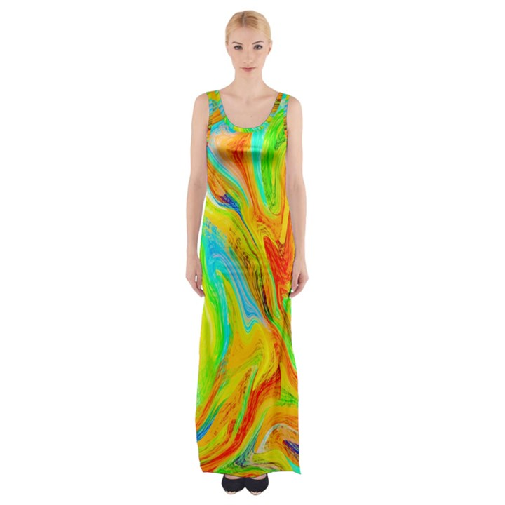 Happy Multicolor Painting Maxi Thigh Split Dress