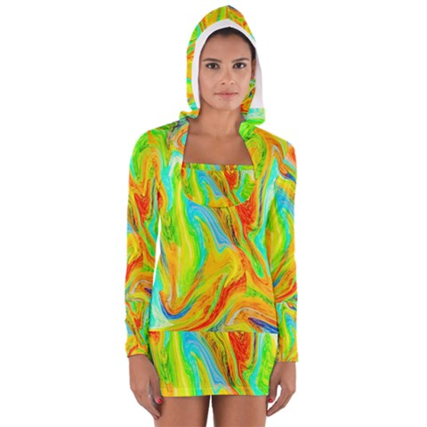 Happy Multicolor Painting Women s Long Sleeve Hooded T-shirt