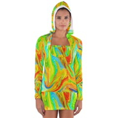 Happy Multicolor Painting Women s Long Sleeve Hooded T Shirt