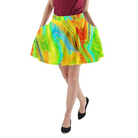 Happy Multicolor Painting A-Line Pocket Skirt