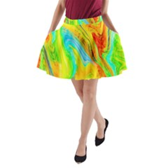 Happy Multicolor Painting A Line Pocket Skirt
