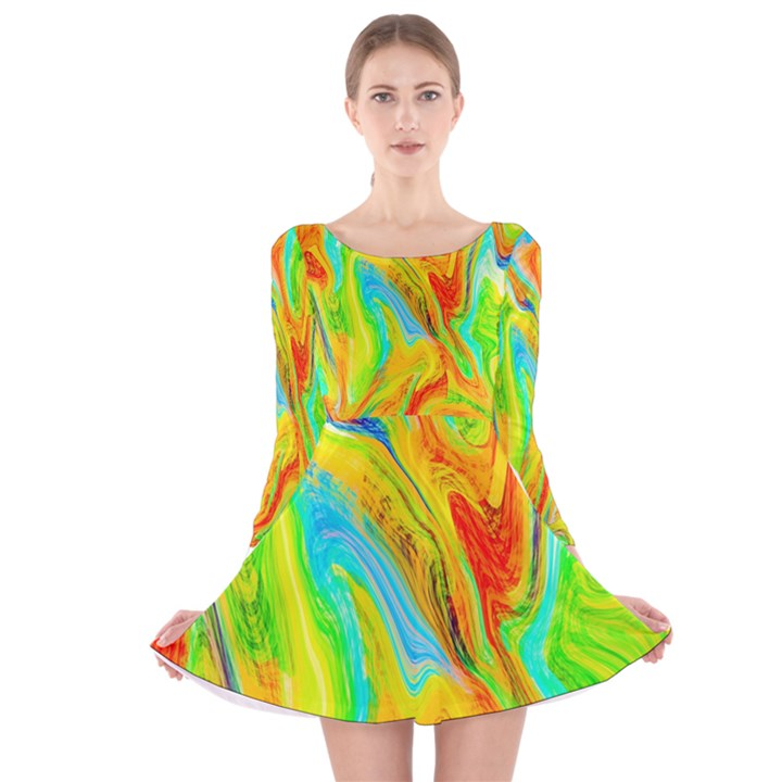 Happy Multicolor Painting Long Sleeve Velvet Skater Dress