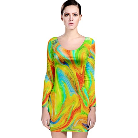 Happy Multicolor Painting Long Sleeve Velvet Bodycon Dress