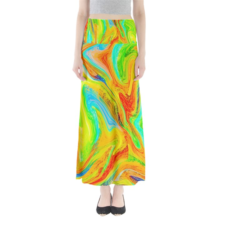 Happy Multicolor Painting Maxi Skirts