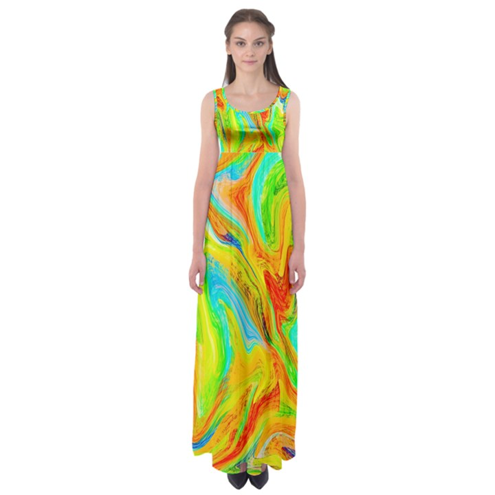 Happy Multicolor Painting Empire Waist Maxi Dress