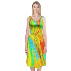 Happy Multicolor Painting Midi Sleeveless Dress