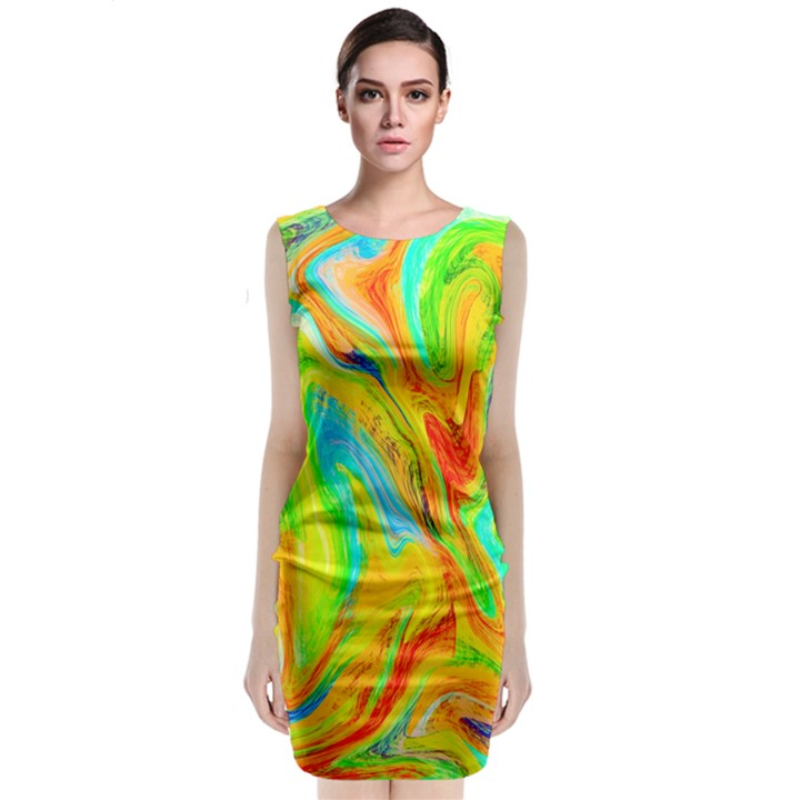 Happy Multicolor Painting Classic Sleeveless Midi Dress