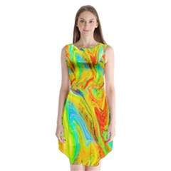Happy Multicolor Painting Sleeveless Chiffon Dress