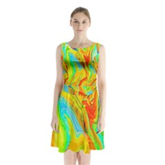 Happy Multicolor Painting Sleeveless Chiffon Waist Tie Dress