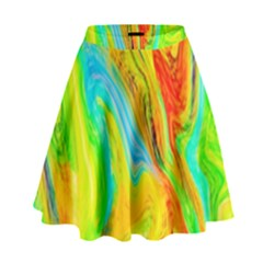 Happy Multicolor Painting High Waist Skirt