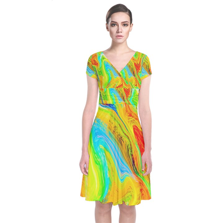 Happy Multicolor Painting Short Sleeve Front Wrap Dress