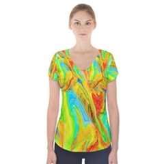 Happy Multicolor Painting Short Sleeve Front Detail Top