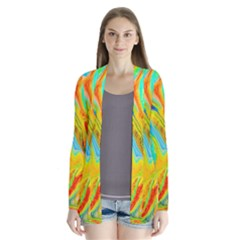 Happy Multicolor Painting Drape Collar Cardigan