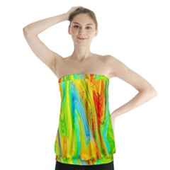 Happy Multicolor Painting Strapless Top