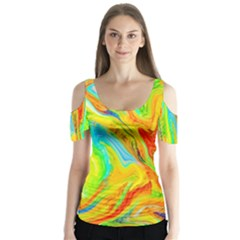 Happy Multicolor Painting Butterfly Sleeve Cutout Tee