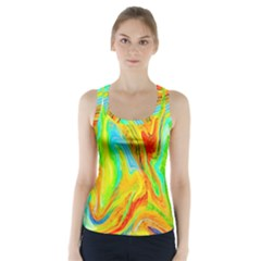 Happy Multicolor Painting Racer Back Sports Top