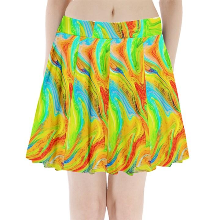 Happy Multicolor Painting Pleated Mini Skirt