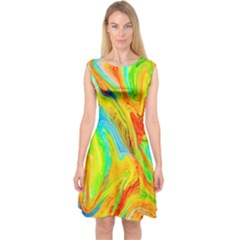Happy Multicolor Painting Capsleeve Midi Dress