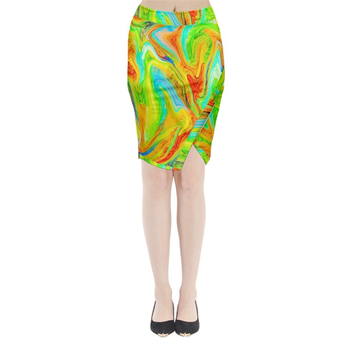 Happy Multicolor Painting Midi Wrap Pencil Skirt