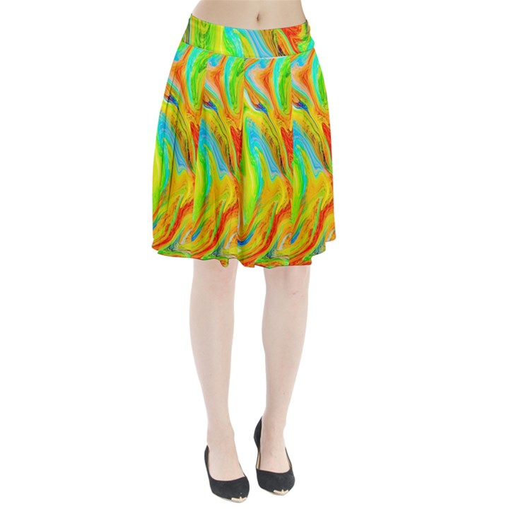 Happy Multicolor Painting Pleated Skirt