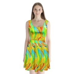 Happy Multicolor Painting Split Back Mini Dress
